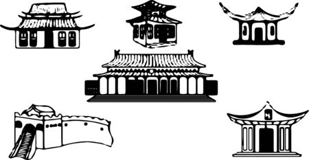 Chinese architecture icon on white background