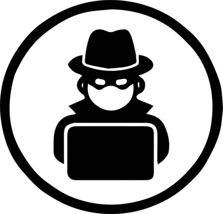 hacker icon on white background