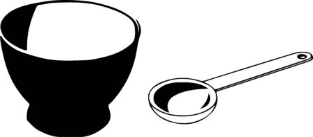 Cup of curry and spoon icon on white background