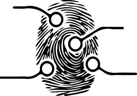 finger print icon on white background  イラスト・ベクター素材