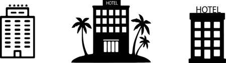 hotel icon on white background Vektorové ilustrace