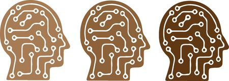 Artificial intelligence icon on white background Vettoriali