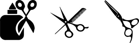 barber icon set on color background Vettoriali