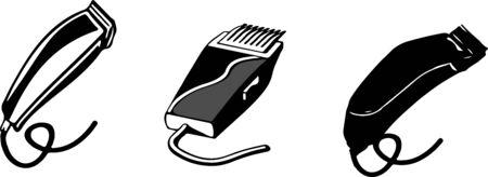 barber icon set on color background