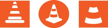 traffic cone icon on color background