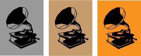 phonograph icon on white background 向量圖像