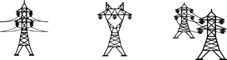 High voltage electric post icon set on white background Ilustração