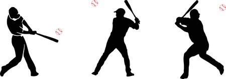 baseball player and baseball silhouette icon on white background Vectores