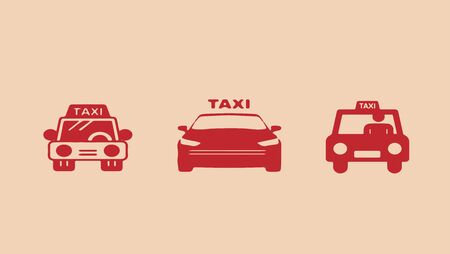 taxi vector on color background