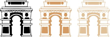 triumphal arch gate of India to New Delhi vector illustration isolated on background  イラスト・ベクター素材