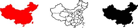China map icon for web design isolated on white background