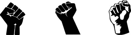 fist hand up icon set isolated on white background