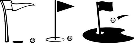 Golf flag icon isolated on white background