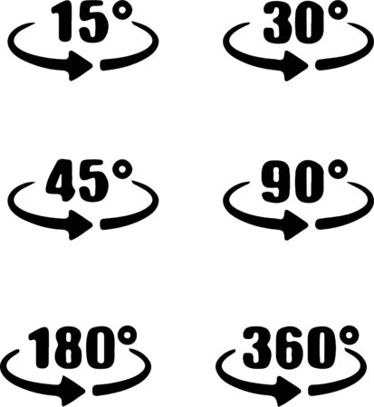 Set of angles 15,30,45,90, 180 and 360 degrees icon isolated on white background
