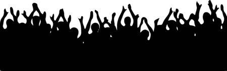 foule, gens, acclamations, vecteur, isolé, blanc, fond Vecteurs
