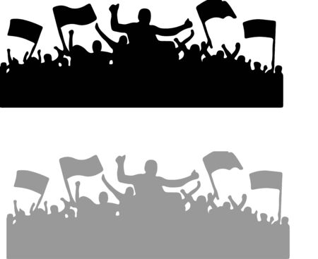 crowd people cheering vector isolated on white background Vector Illustratie
