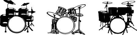 drum set icon isolated on white background