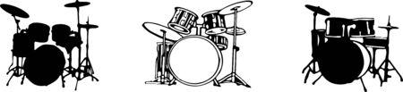 drum set icon isolated on white background Vector Illustration
