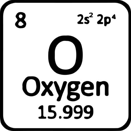 Periodic table element oxygen icon isolated on white background 矢量图像