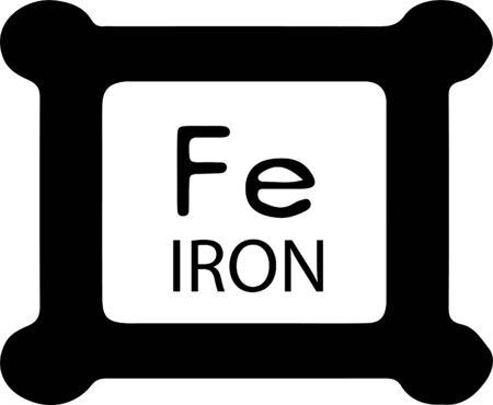 periodic table element Iron icon isolated on white background