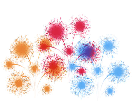 brightly colorful fireworks on color background