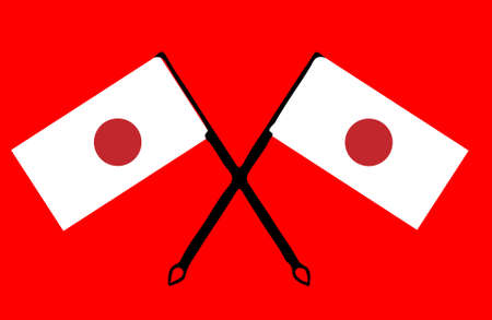 Japan flags illustration on red background