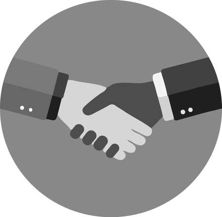 shaking hand icon isolated on background