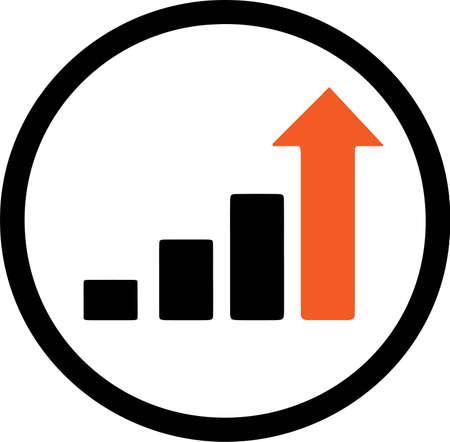 growing chart icon isolated on white background Çizim