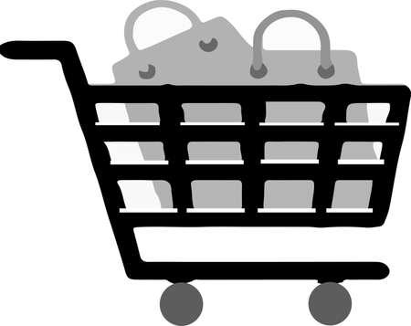 shopping cart icon isolated on white background Çizim