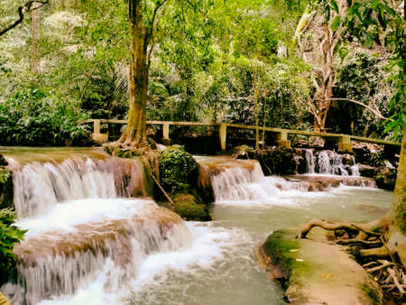 Waterfall hidden in the tropical jungle surrounded by a natural in Krabi,Thailand