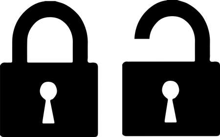 lock and unlock icon isolated on white background