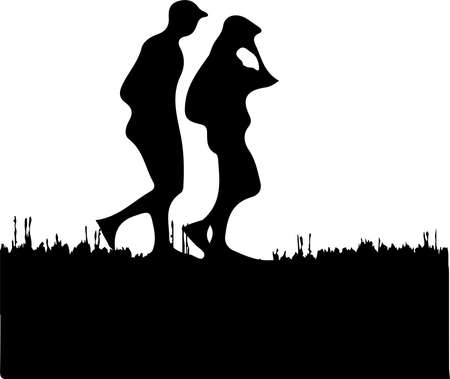 man and woman vector illustration isolated on background Vettoriali