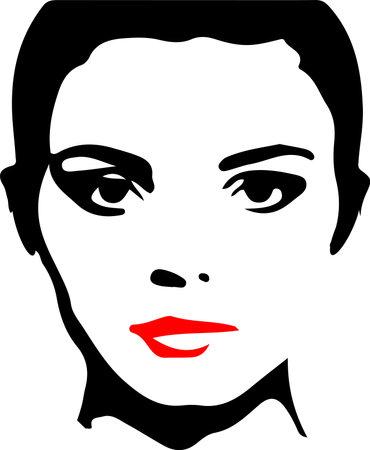 silhouette of pretty woman.Vector illustration. Иллюстрация