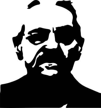 old man vector illustration on white background