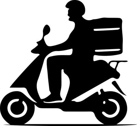 Shipping fast delivery man ridding motorcycle icon on background