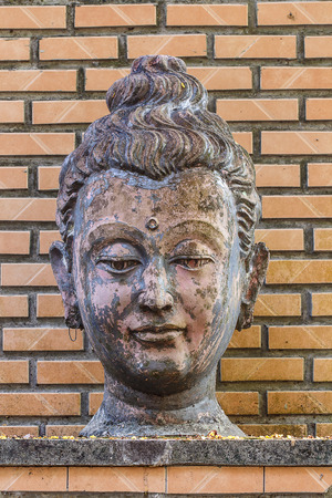 blissfull: Ancient Head Buddha statue in Wat Umong, Chiang mai, thailand Stock Photo