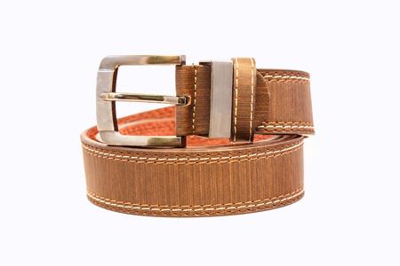 chrome man: Leather belt for men on white background