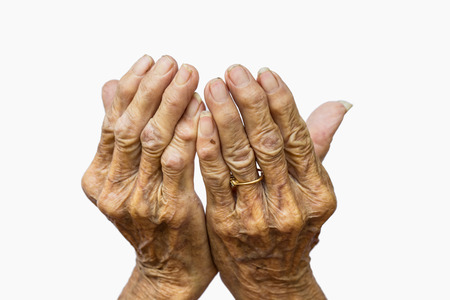 only seniors: The old womans hands on white background