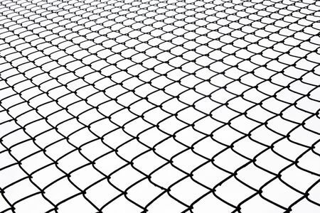 metal wire: Metal wire fence protection on white for background. Stock Photo