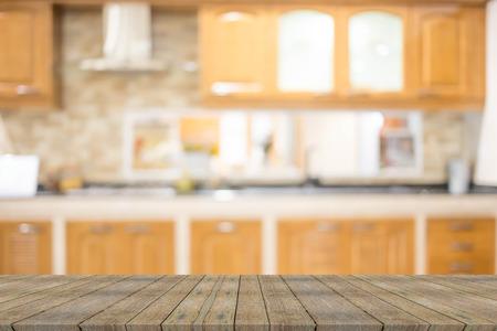 blurred image of modern kitchen interior for background