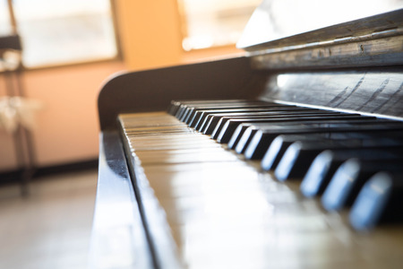 frontal view: close-up of piano keys. close frontal view.