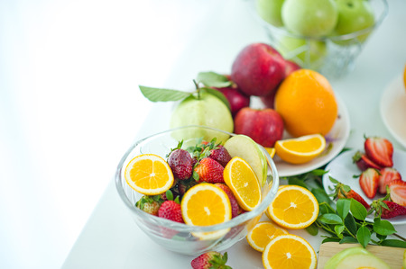 The fruits of health lover Healthy fruit And health care to eat healthy food. To the skin. The fruit is placed in a beautiful table, apple apricot, banana, orange, dragon, placed in the corner of the view.