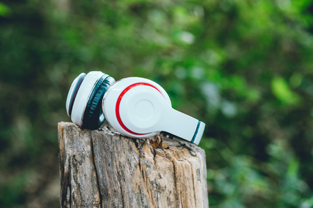 White headphones are suspended in the timber. Green area And relax. Is listening to music Stock Photo