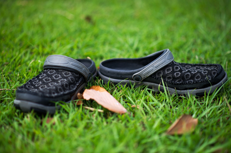 1 pair of black shoes placed in green grass. Naturally occurring And the beauty of green grass. Stock Photo