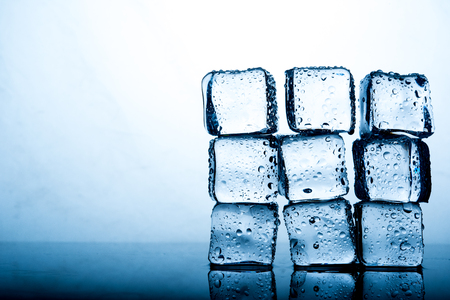 Ice cubes are placed beautifully. Ice color indigo Food and drink concepts suitable for all ages.