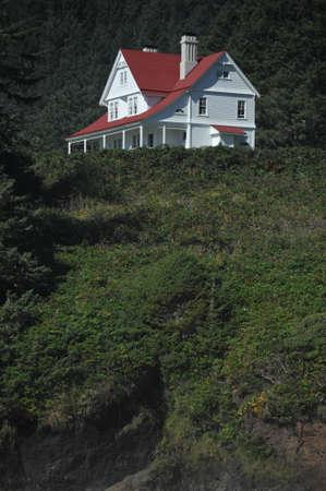 Heceta Head Lighthouse Lightkeepers House Stock Photo