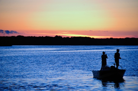 boating: Fishing at Sunset in Wisconsin