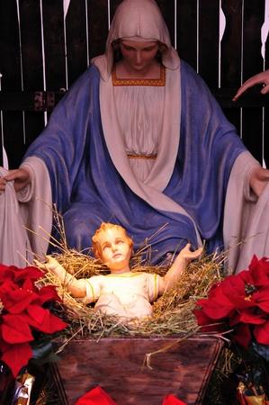 Maagd Maria en Baby Jezus - Life Size Geboortekerk in Wisconsin