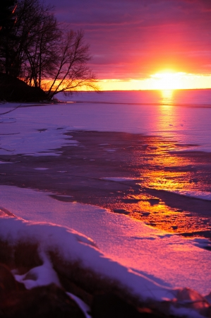 Christmas Day Sunset on Petenwell Lake, Wisconsin - Vertical