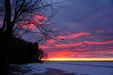 royalty free: Christmas Day Sunset on Petenwell Lake, Wisconsin - horizontal Stock Photo